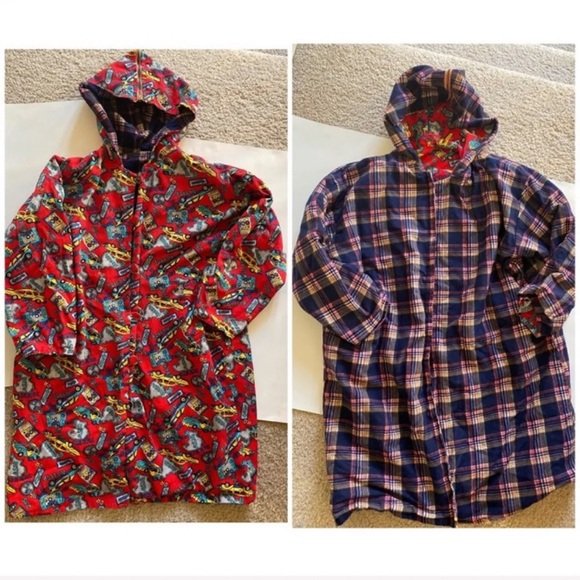 Other - Reversible Hooded  plaid Short trench coat